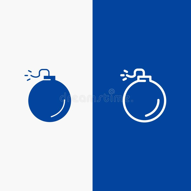 Bomb, Explosive, Explosion Line and Glyph Solid icon Blue banner royalty free illustration