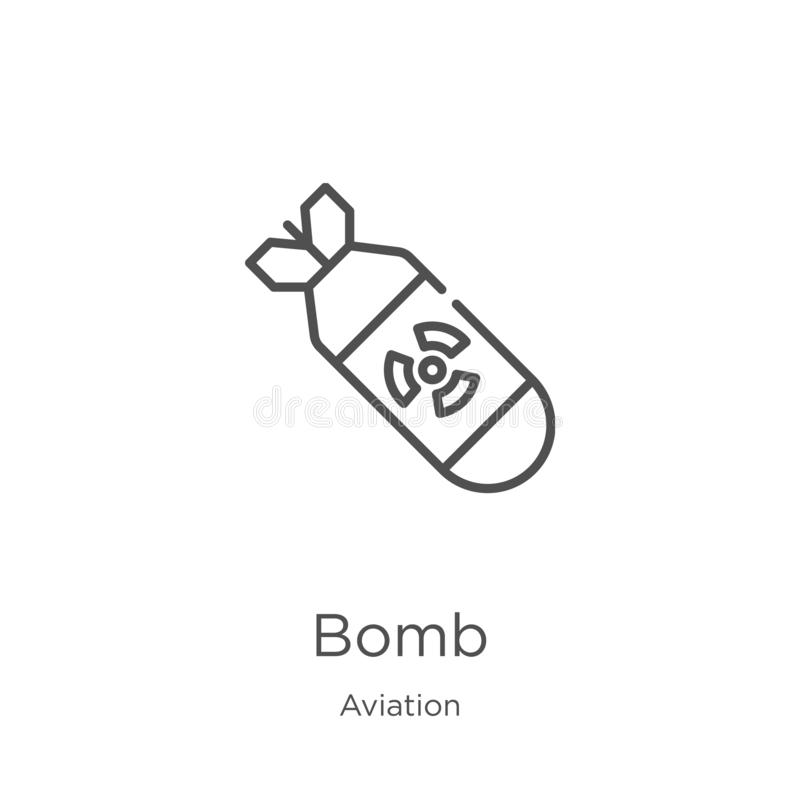 Bomb icon vector from aviation collection. Thin line bomb outline icon vector illustration. Outline, thin line bomb icon for. Bomb icon. Element of aviation vector illustration