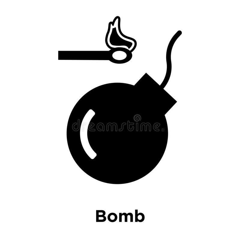 Bomb icon vector isolated on white background, logo concept of B stock illustration