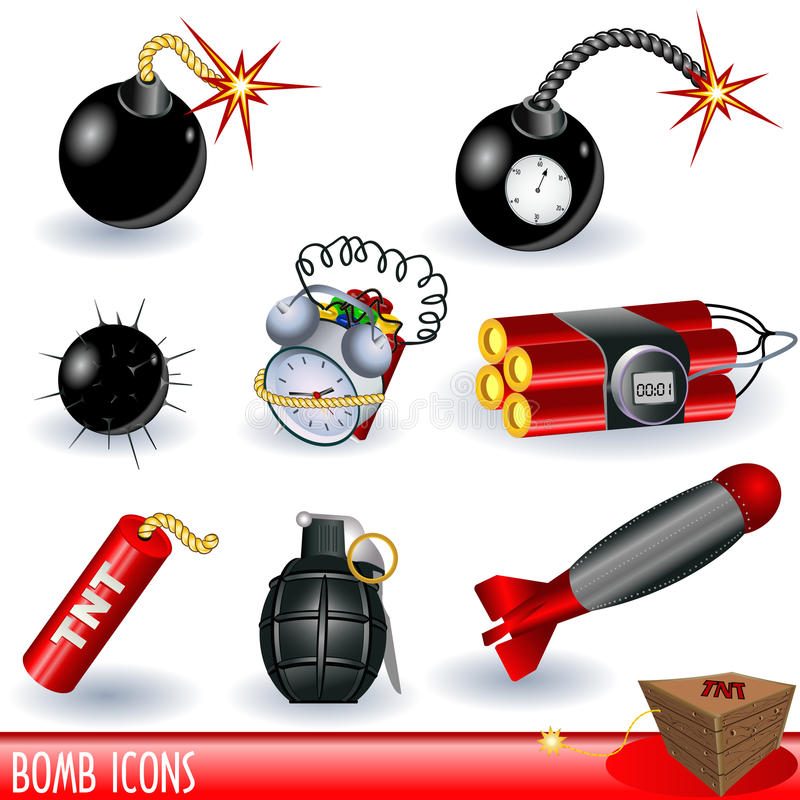 Bomb icons. A collection of bomb icons, color illustration isolated on white background vector illustration