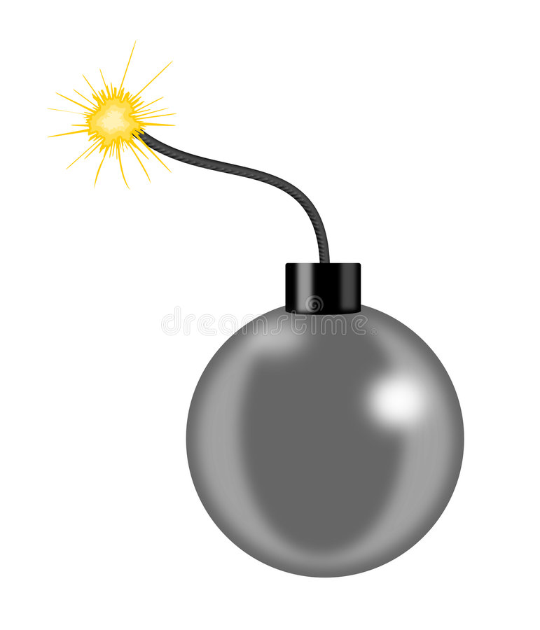 Bomb with a lit fuse. Vector art of a Bomb with a lit fuse royalty free illustration