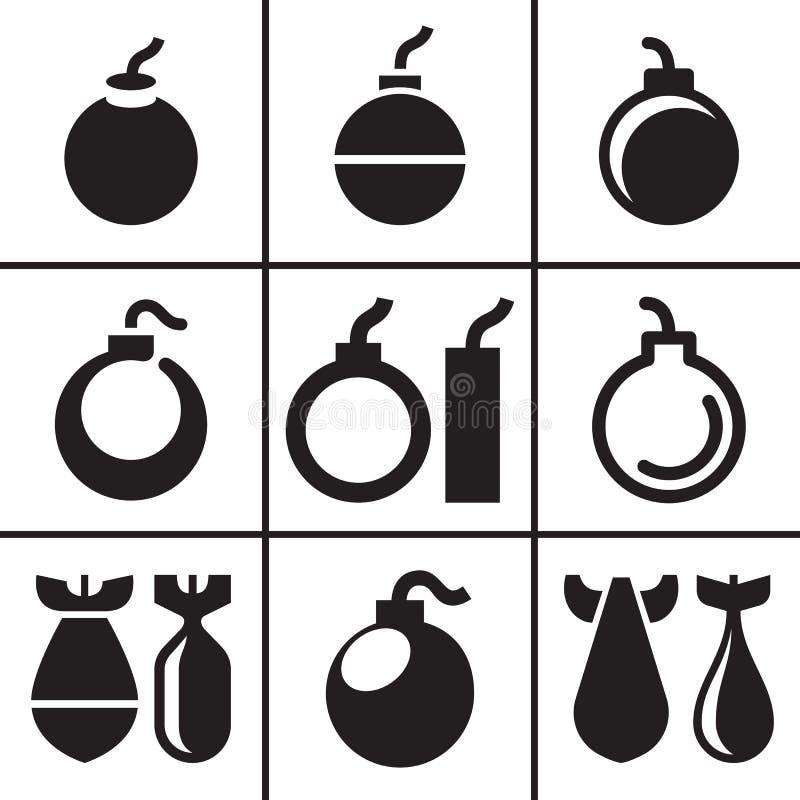 Bomb and missile icons set. Illustration stock illustration