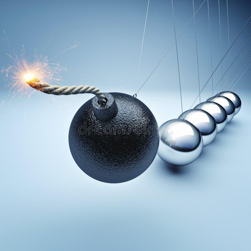 Bomb newton cradle. 3d rendering stock illustration