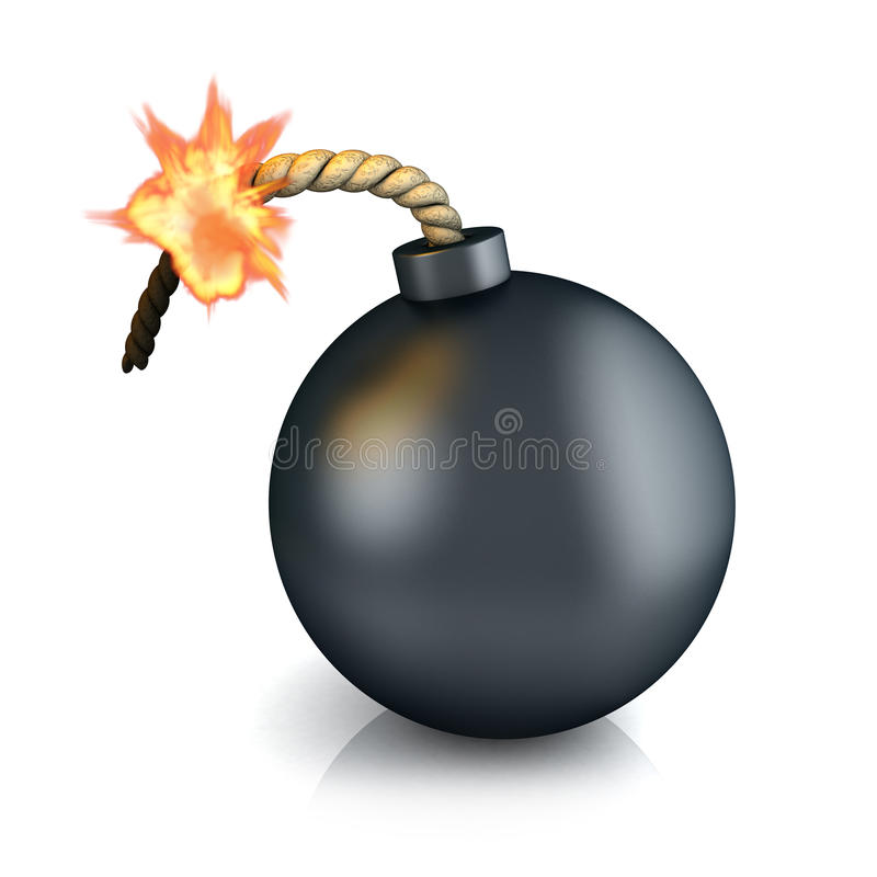 Bomb. Old bomb on white background (done in 3d vector illustration