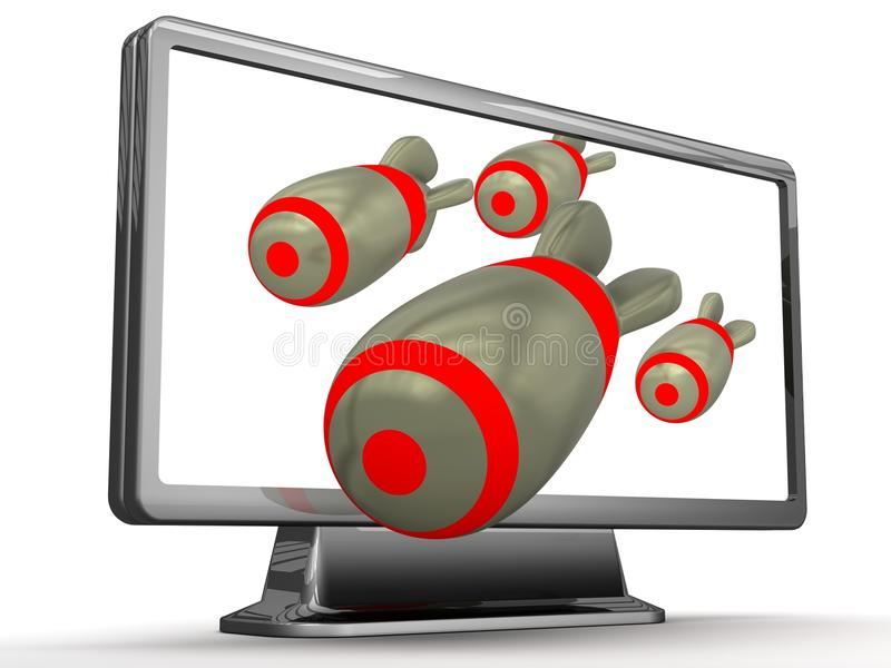 Download Bomb out the TV stock illustration. Illustration of rendered - 26471252