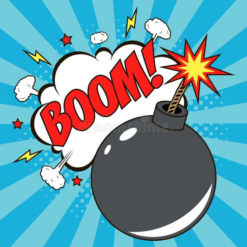 Bomb in pop art style and comic speech bubble with text - BOOM. Cartoon dynamite at background with dots halftone and sunburst. stock illustration