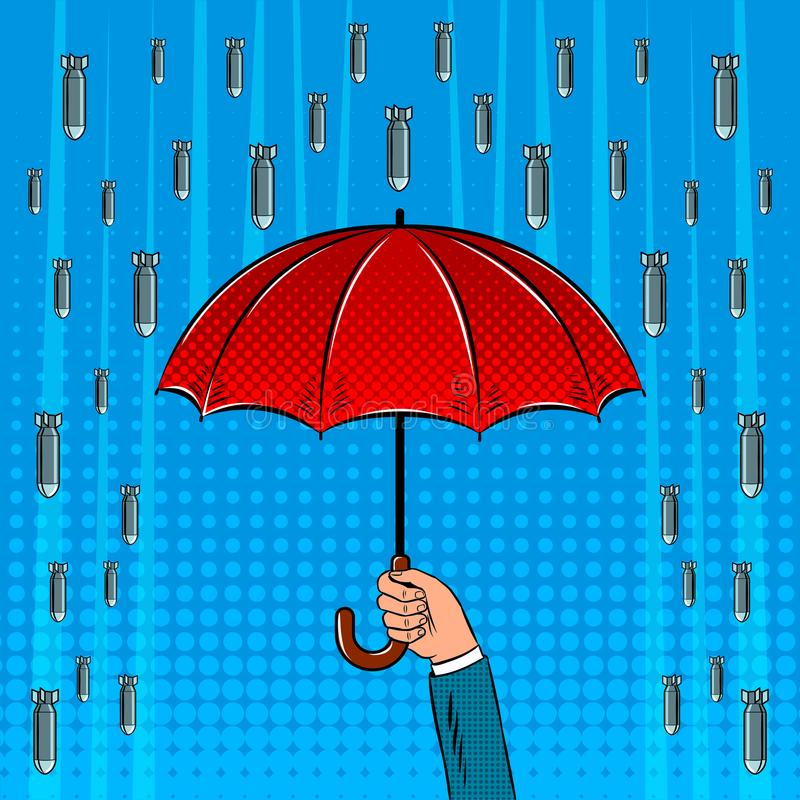 Bomb rain and umbrella pop art vector illustration stock illustration