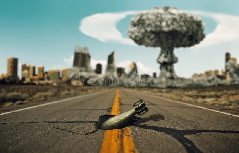 Bomb on the road. Background a nuclear explosion. Boom royalty free stock image