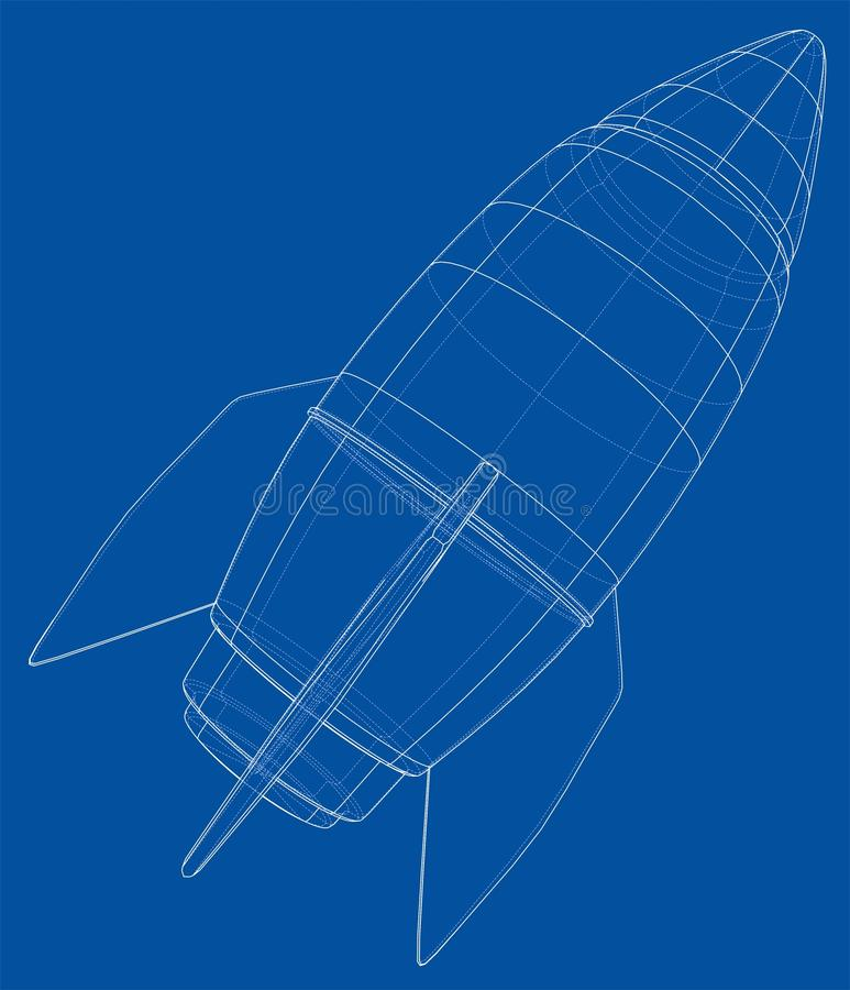 Bomb sketch. Vector royalty free illustration