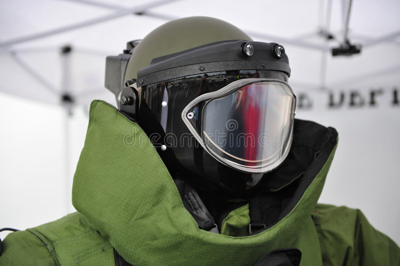 Bomb Squad Helmet. Helmet and upper part of EOD9 bomb squad protective suit royalty free stock image