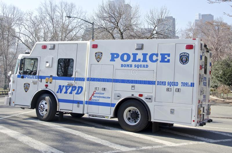 Bomb Squad. A New York City Police Department bomb squad truck on the watch in Central Park stock images