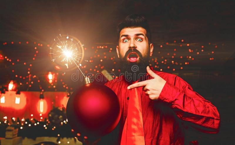 Bomb text copy space. New year sale. Christmas sale. Christmas party. Happy Santa claus. Bomb emotions. Christmas stock photo