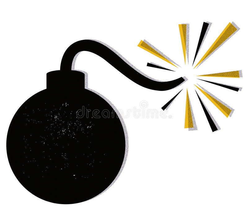 Bomb vector. Illustration of a bomb before explosion on white background + vector eps vector illustration
