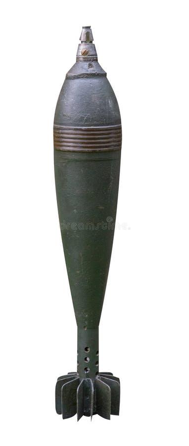Bomba aérea da segunda guerra mundial, isolada no fundo branco opinião lateral de bomba aérea imagens de stock
