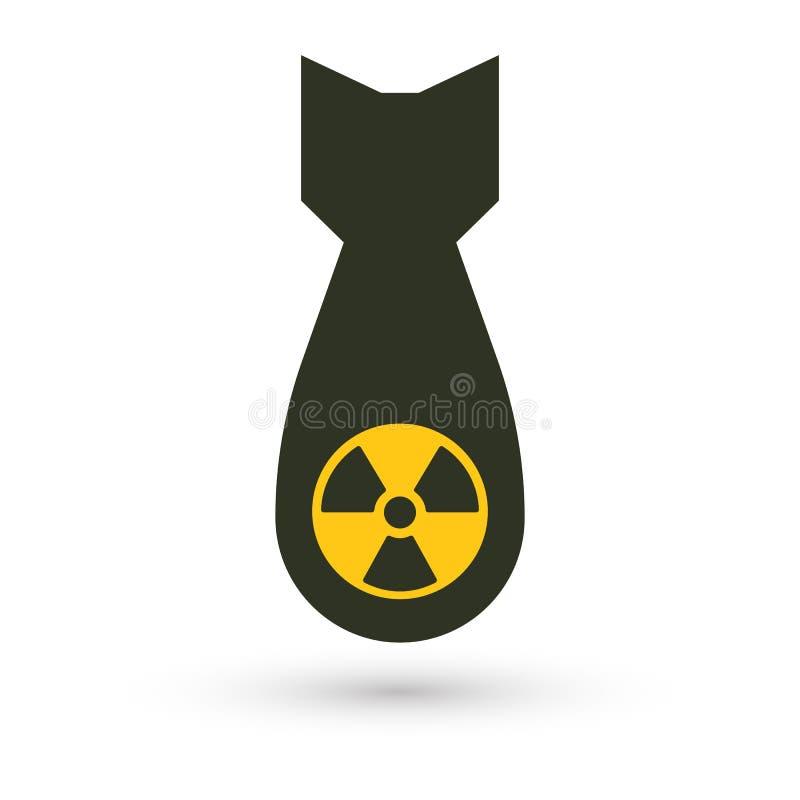 Bomba atómica, icono aislado del vector Armas de destrucción masiva, silueta simple negra Símbolo abstracto de la guerra global ilustración del vector
