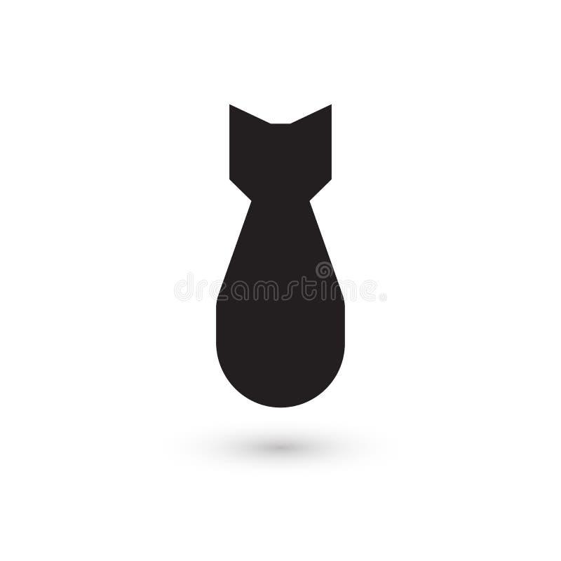 Bomba atómica, icono aislado del vector Armas de destrucción masiva, silueta simple negra Símbolo abstracto de la guerra global libre illustration
