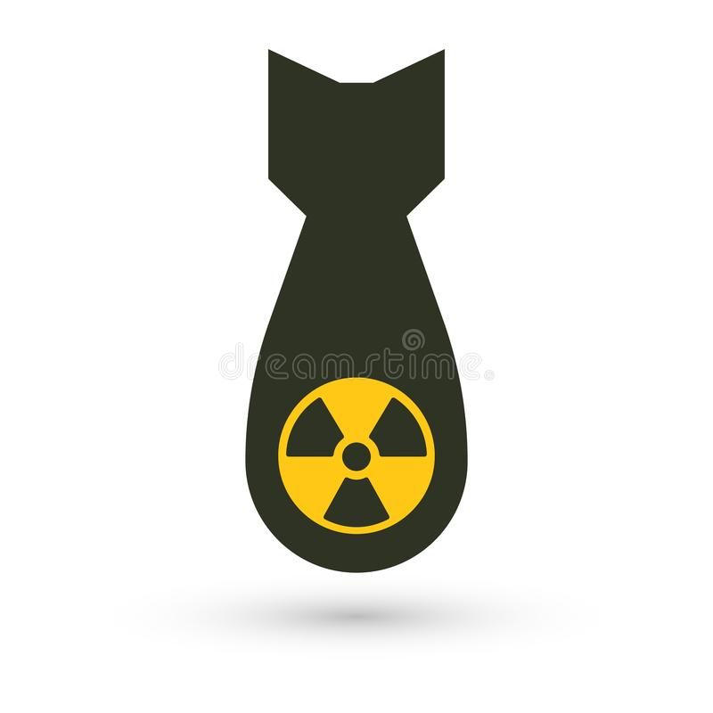 Bomba atômica, ícone isolado do vetor Armas de destruição maciça, silhueta simples preta Símbolo abstrato de guerra global ilustração do vetor