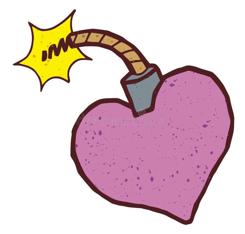 Bomba colorida en forma de corazón stock de ilustración