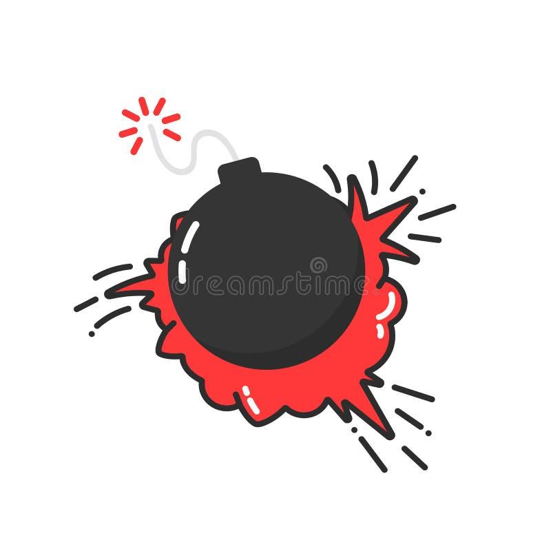 Bomba com ícone da explosão dos desenhos animados ilustração do vetor
