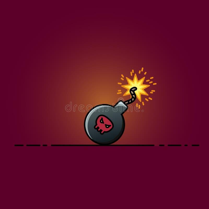 Bomba com ilustração lisa dos desenhos animados do ícone dos sparkles ilustração do vetor