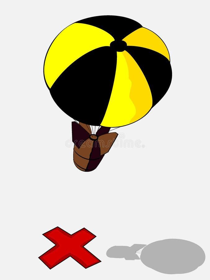 Bomba com pára-quedas amarelo ilustração stock
