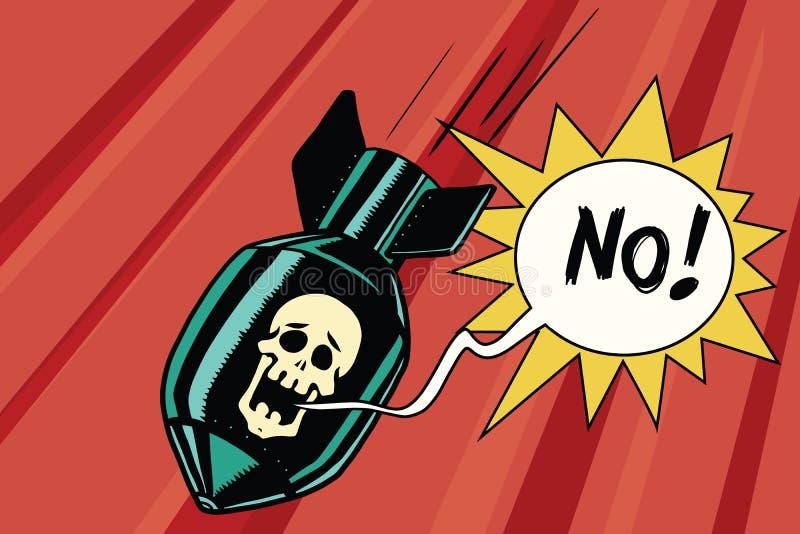 Bomba con il cranio del grido di scheletro nessun illustrazione di stock
