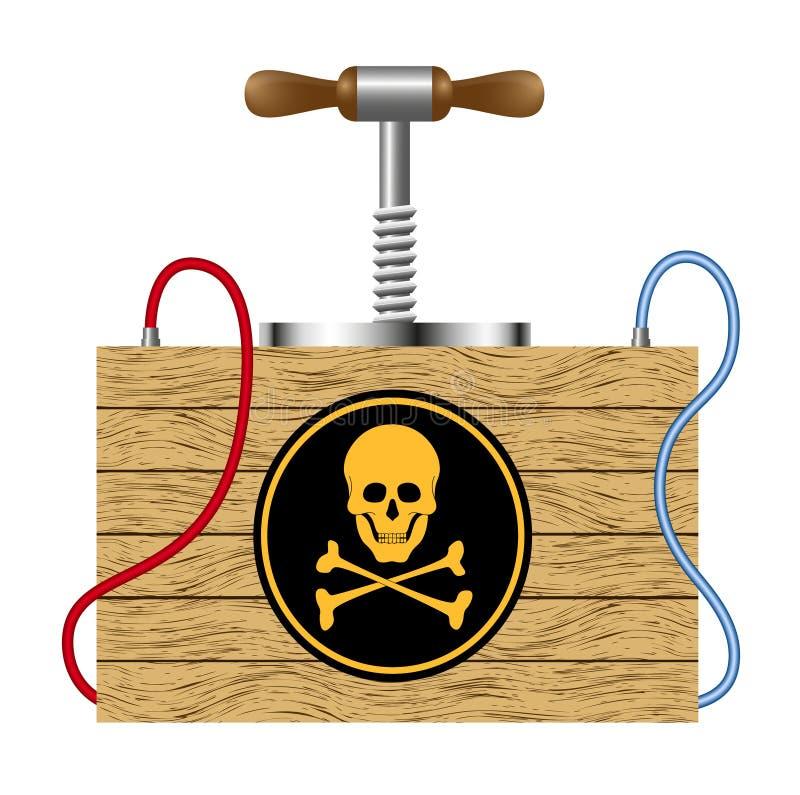 Bomba con la muestra del peligro (símbolo del cráneo) stock de ilustración