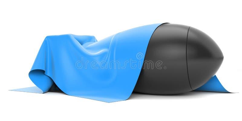 Bomba cubierta desde arriba de un paño de seda rojo ilustración del vector