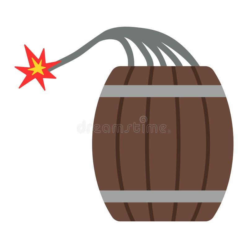 Bomba da dinamite com o tambor liso do vetor da arma explosiva ardente do perigo do feltro de lubrificação ilustração do vetor