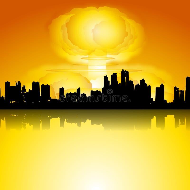 Bomba da guerra nuclear na cidade ilustração royalty free