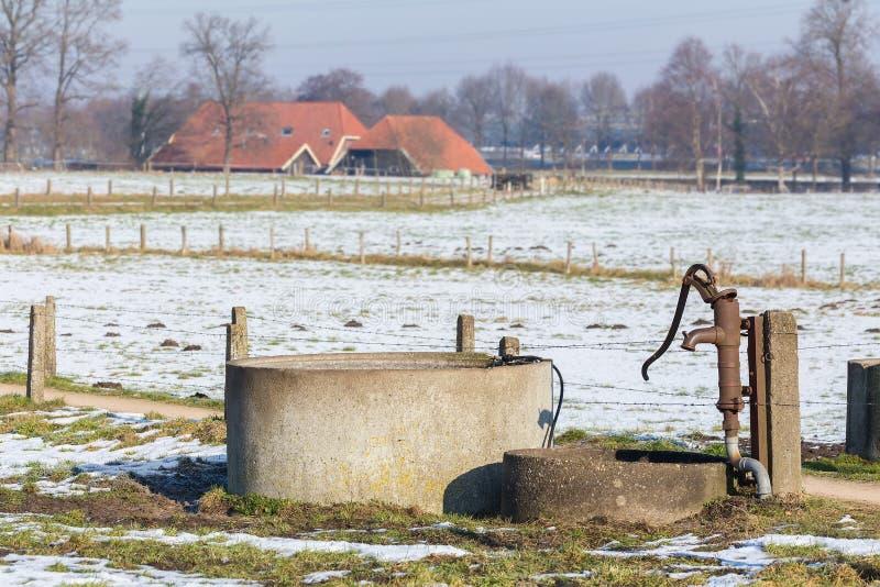 Bomba de água e bem na paisagem da neve do inverno imagem de stock