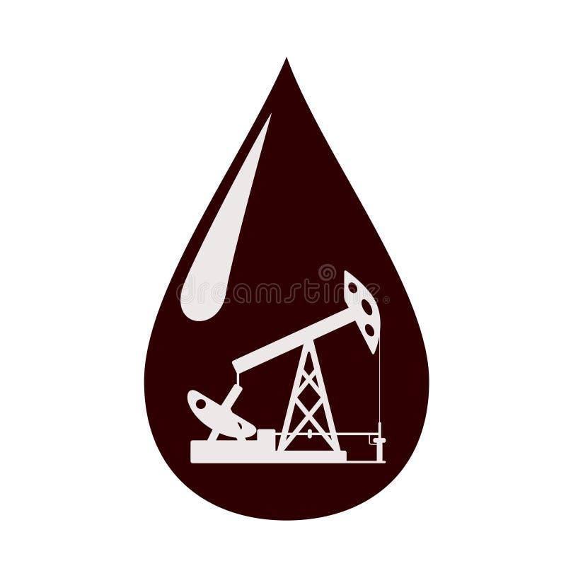 Bomba de óleo em uma gota do óleo. ilustração royalty free