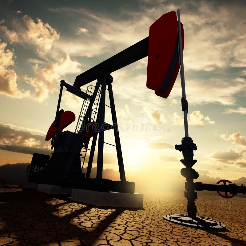 Bomba de óleo no céu do por do sol ilustração stock