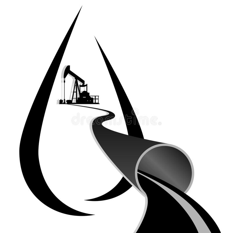Bomba de aceite y un oleoducto stock de ilustración
