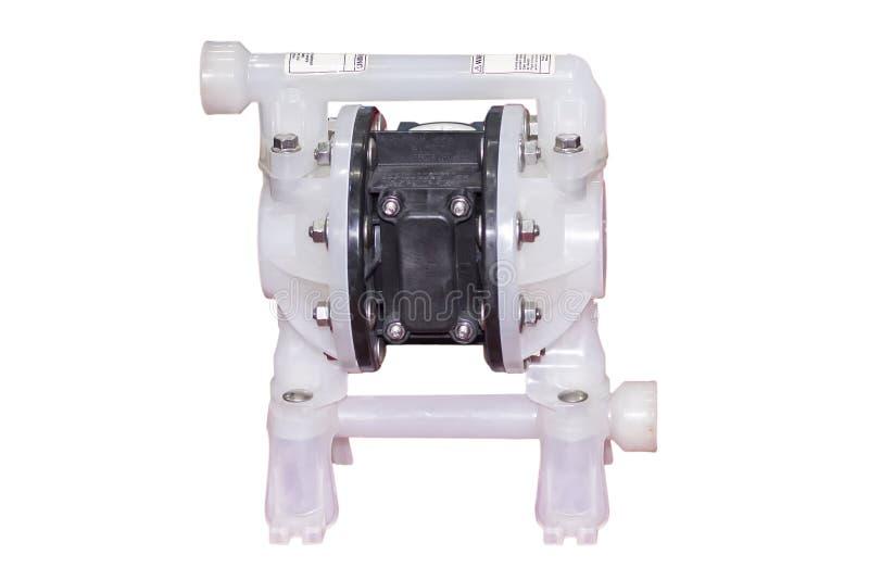 Bomba de diafragma doble para los gases del movimiento líquidos o mezclas líquidas del gas para el trabajo industrial aislado en  fotografía de archivo