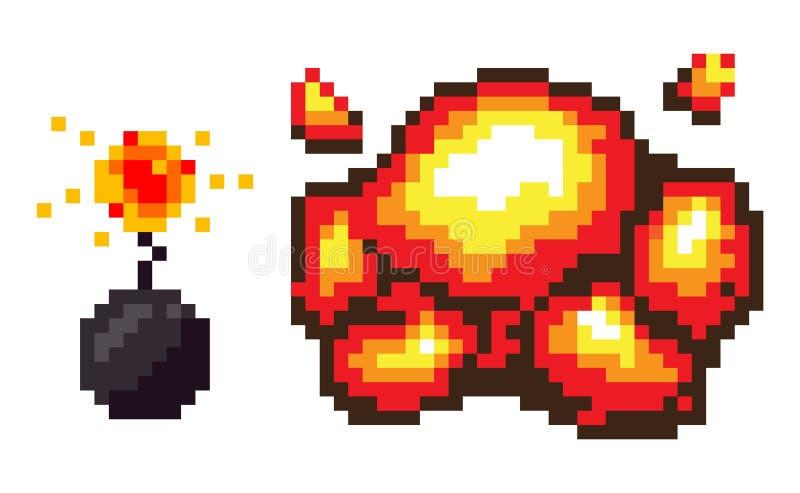 Bomba de explosión con el fuego, sistema de los iconos de Pixelated ilustración del vector