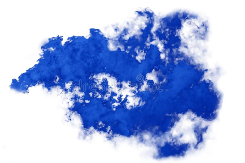 Bomba de fumo azul isolada no fundo branco fotos de stock royalty free