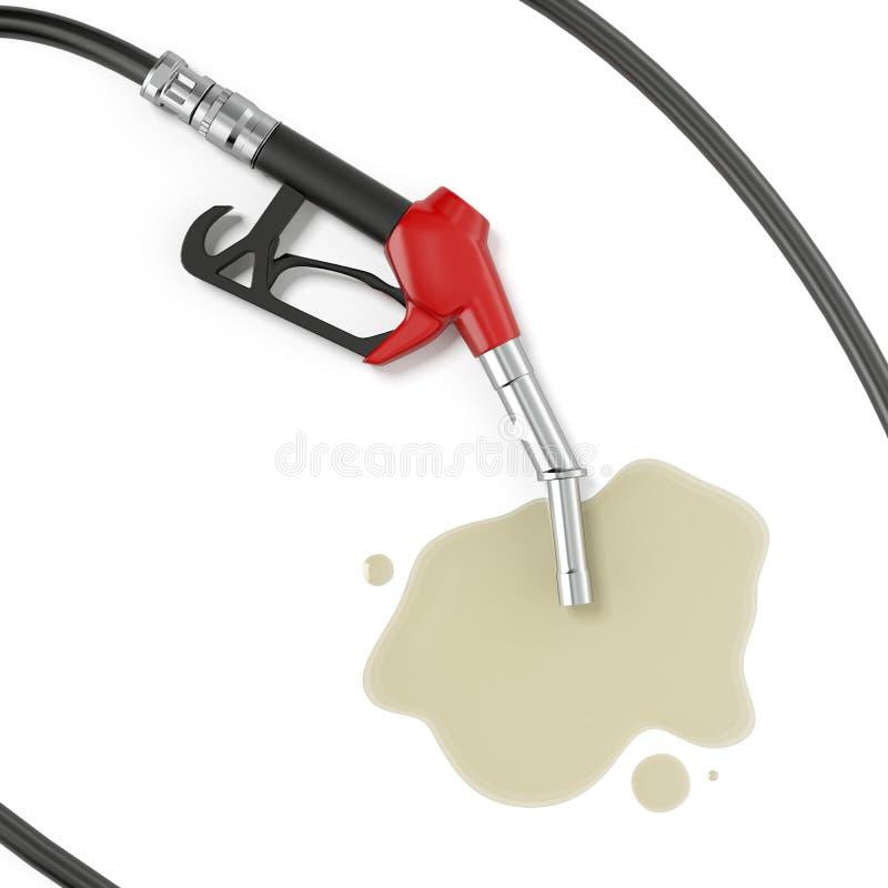 Bomba de gasolina vermelha com óleo ilustração do vetor