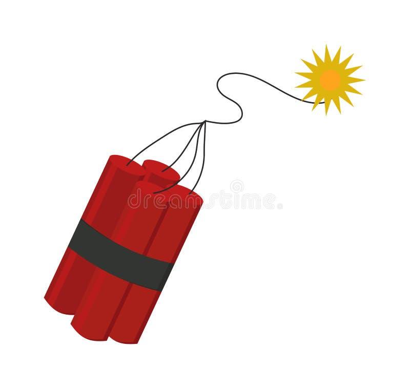 Bomba de la dinamita con vector plano de la mecha del arma explosiva ardiente del peligro stock de ilustración