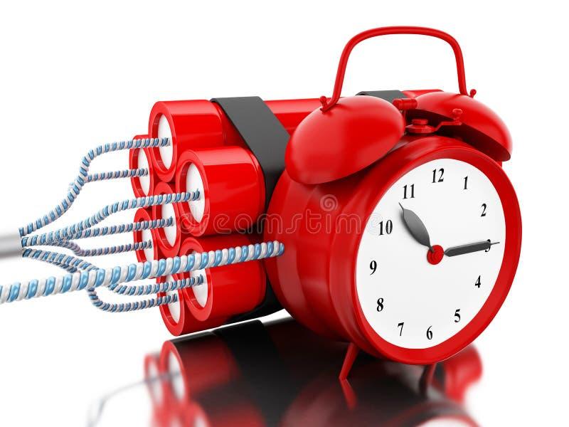 bomba de la dinamita 3d con el contador de tiempo del reloj libre illustration