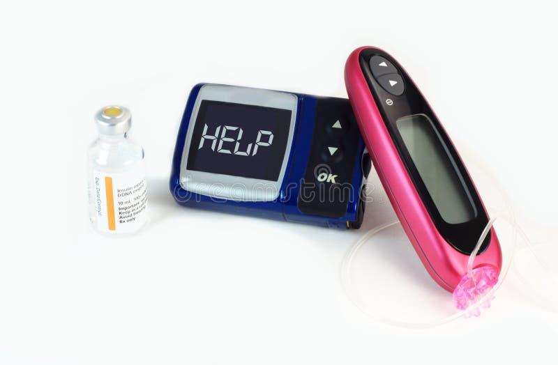 Bomba de la insulina que muestra la ayuda de la palabra foto de archivo libre de regalías