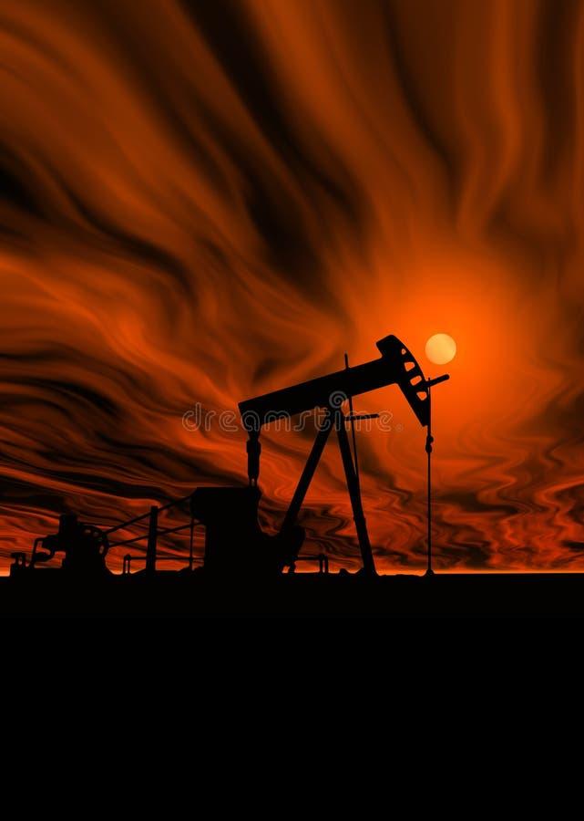 Bomba de petróleo sob o céu quente imagem de stock
