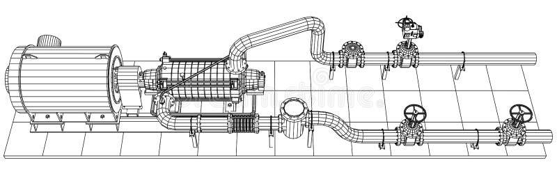 bomba de petróleo y gas del equipo industrial del Alambre-marco stock de ilustración