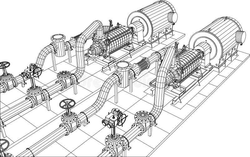 bomba de petróleo y gas del equipo industrial del Alambre-marco ilustración del vector