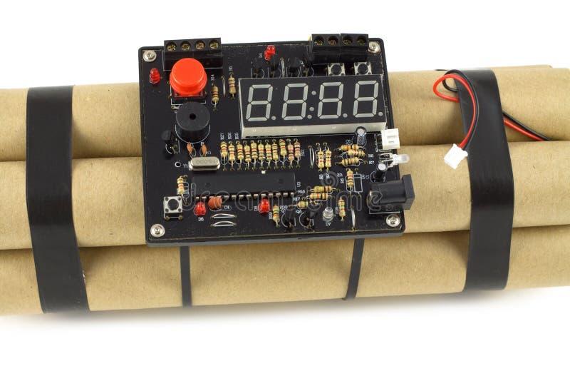 Bomba de relojería aislada en blanco imagen de archivo