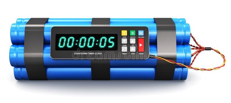 Bomba de relojería con el reloj electrónico del contador de tiempo stock de ilustración