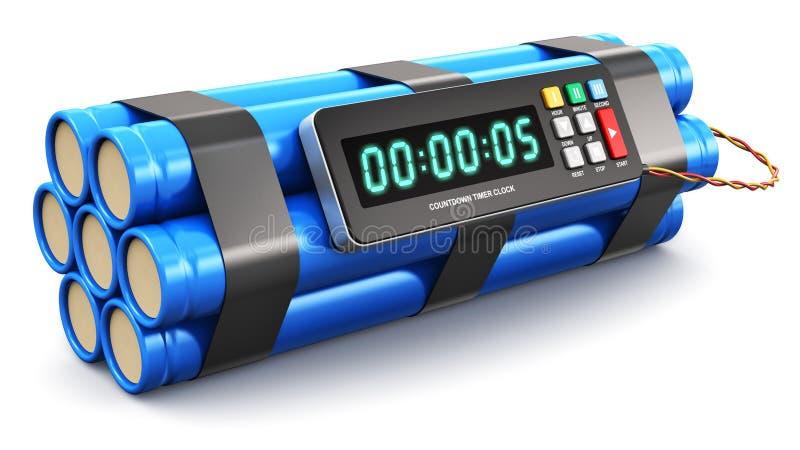 Bomba de relojería con el reloj electrónico del contador de tiempo ilustración del vector