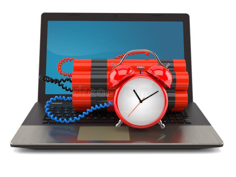 Bomba de relojería en el ordenador portátil ilustración del vector