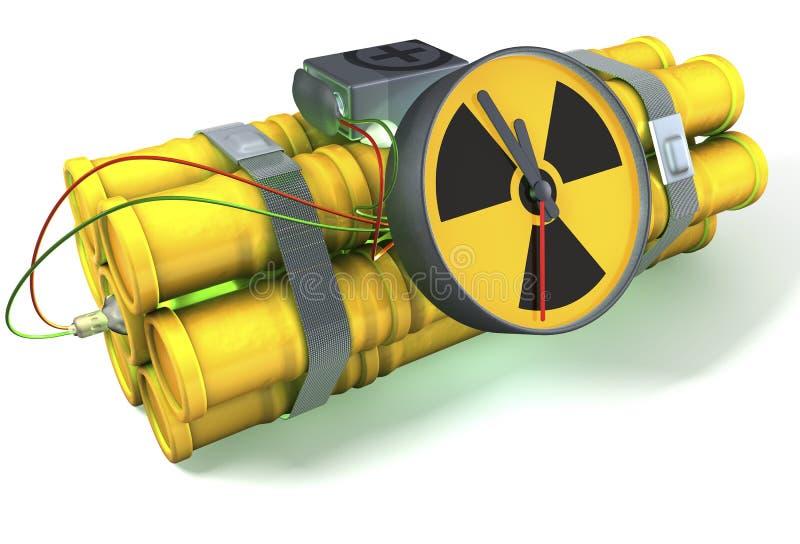 Bomba de relojería nuclear con un resplandor verde claro ilustración del vector