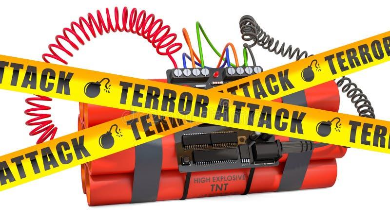Bomba de TNT explosiva com as fitas digitais da barreira do cuidado do pulso de disparo e do perigo do temporizador da contagem r ilustração stock
